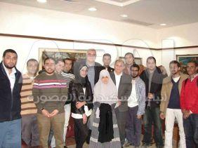 رئيس جامعة  الاسكندرية مع اعضاء اتحاد الطلاب الجدد