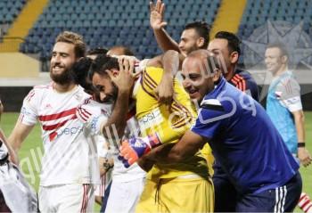 فرحة لاعبي الزمالك بالفوز علي الاتحاد